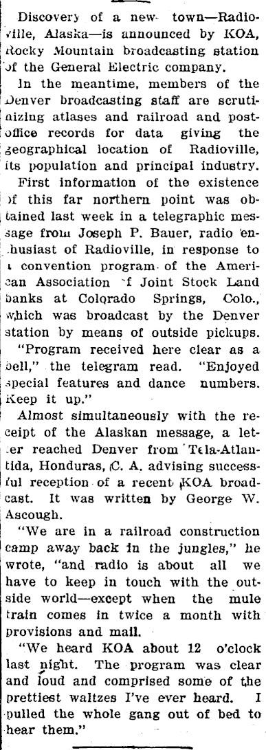 Aspen Times Sept 10, 1925 Radioville Article